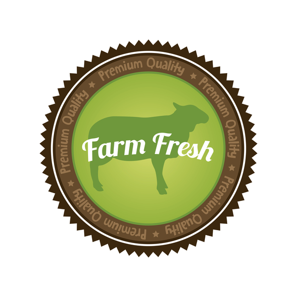 Farm fresh organic food badge vector 02