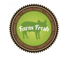 Farm fresh organic food badge vector 03