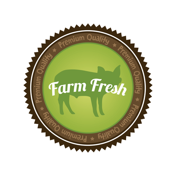 Farm fresh organic food badge vector 03