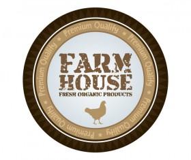 Farm house fresh food badge vector material