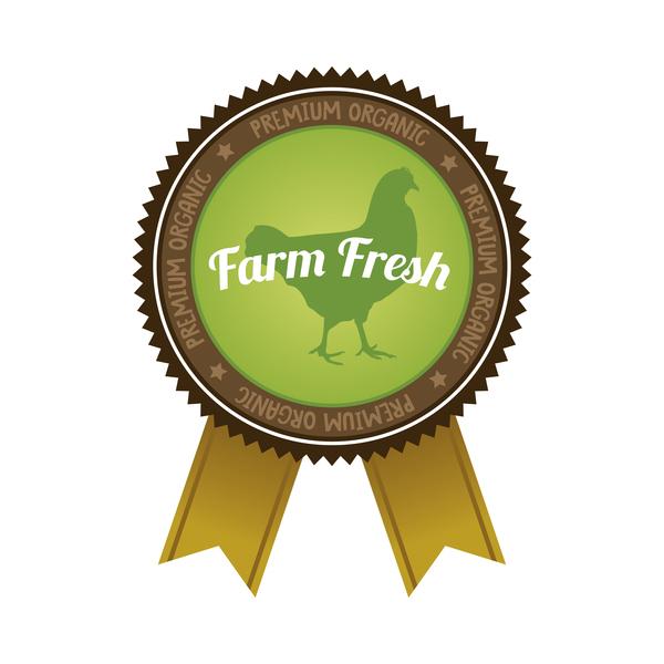 Farm organic food badge with ribbon vector 01