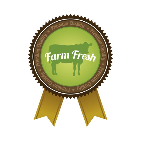 Farm organic food badge with ribbon vector 02