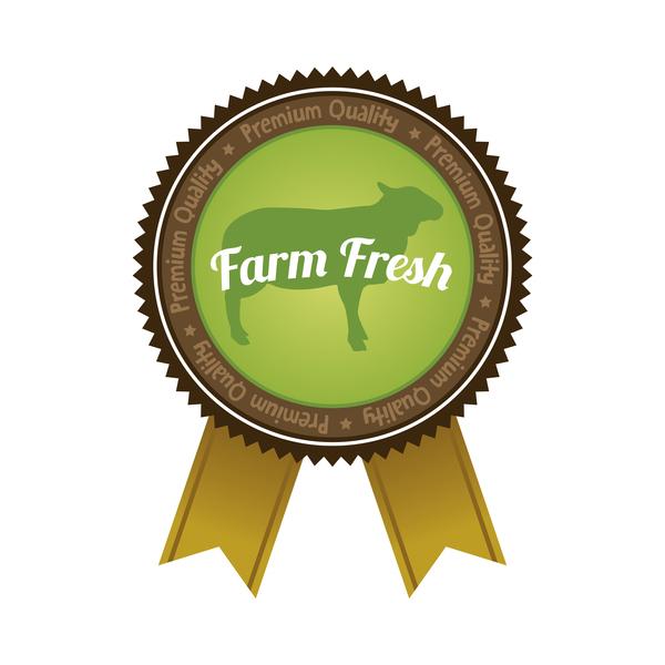 Farm organic food badge with ribbon vector 03