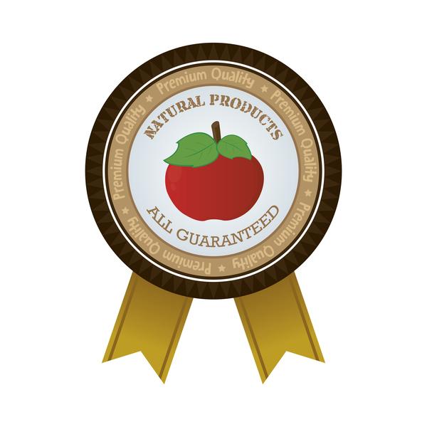 Farm organic food badge with ribbon vector 04