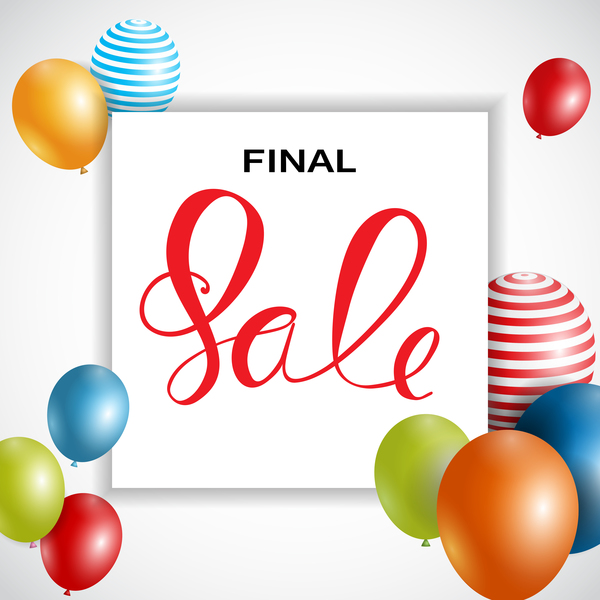 Final sale background with colored balloons vectors 01