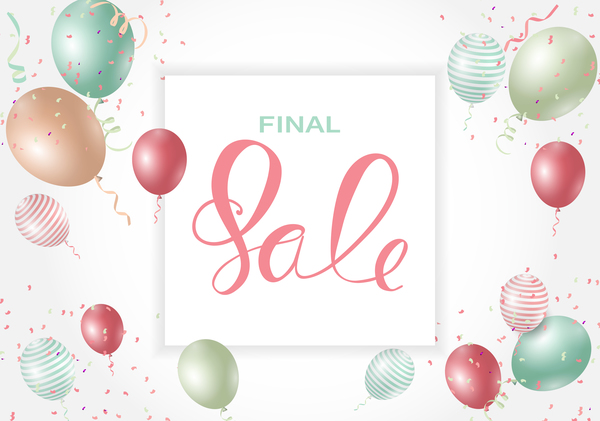 Final sale background with colored balloons vectors 02