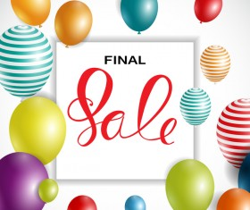 Final sale background with colored balloons vectors 03