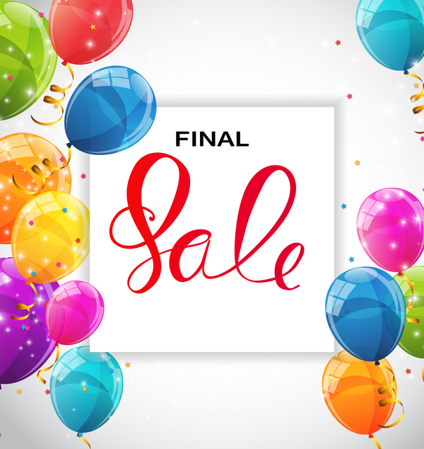 Final sale background with colored balloons vectors 05