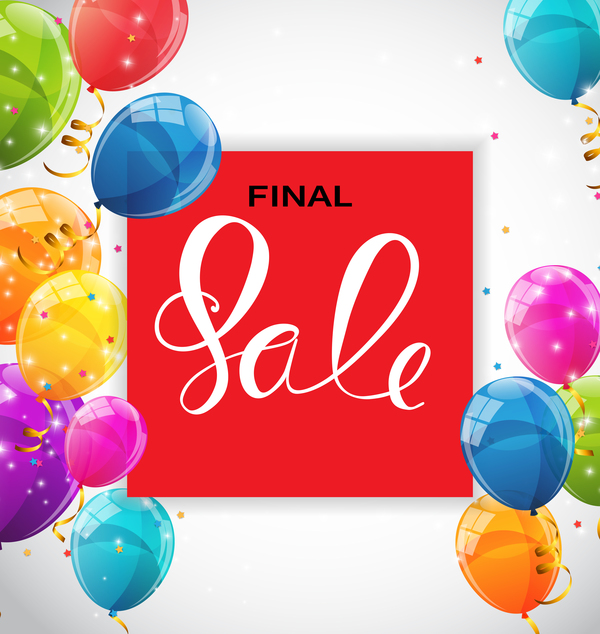Final sale background with colored balloons vectors 06