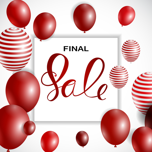 Final sale background with colored balloons vectors 07