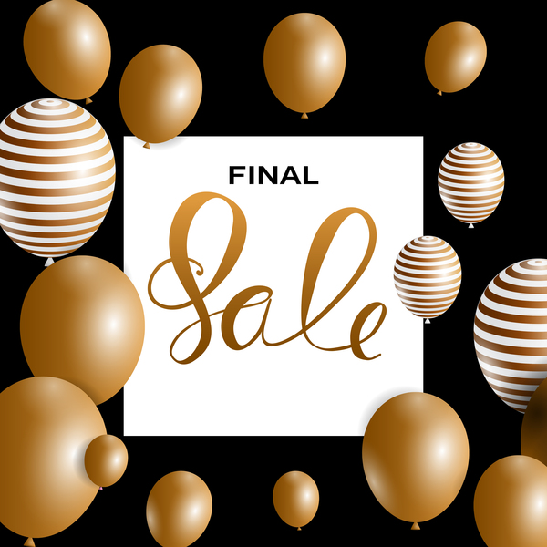 Final sale background with colored balloons vectors 08