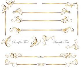 Floral golden ornaments with borders vectors