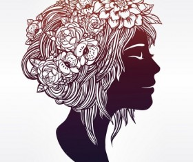 Floral woman art vector material 01