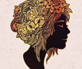 Floral woman art vector material 04