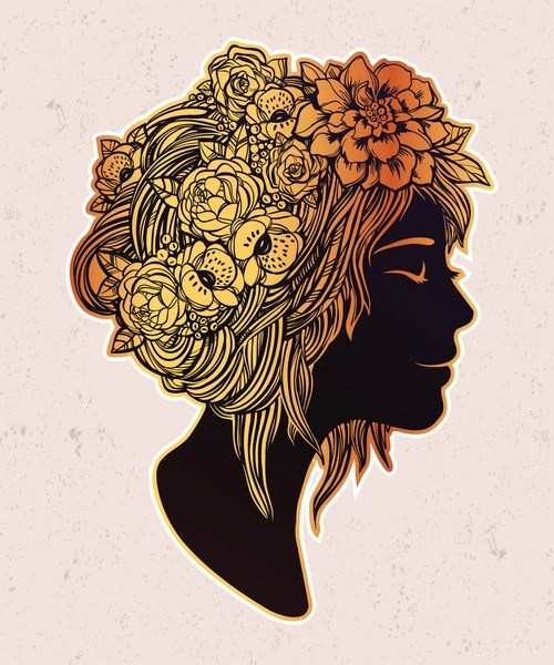 Beautiful art of a girl with flowers on her head.