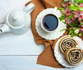 Flower with simple breakfast Stock Photo