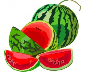 Fresh juicy watermelon with ripe vector material 01