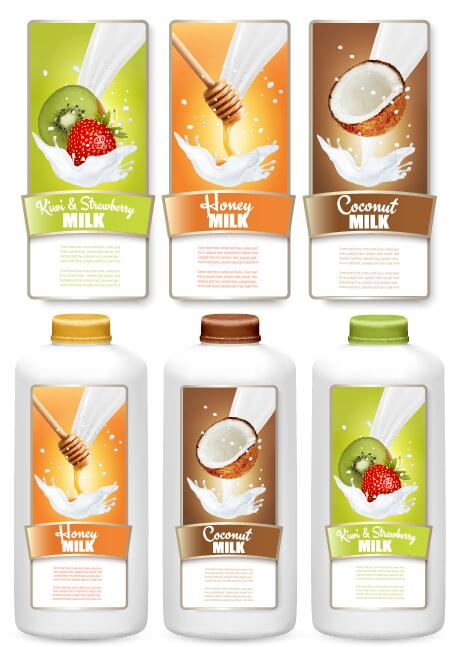 Fruit milk trademark stickers vector template 06