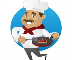 Funny chef cooking sign vector design 01