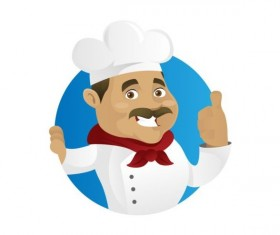 Funny chef cooking sign vector design 02