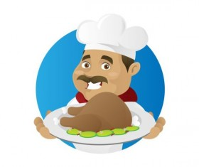 Funny chef cooking sign vector design 06