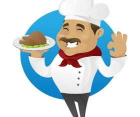 Funny chef cooking sign vector design 07