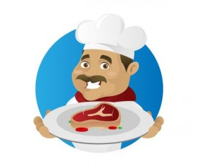Funny chef cooking sign vector design 09