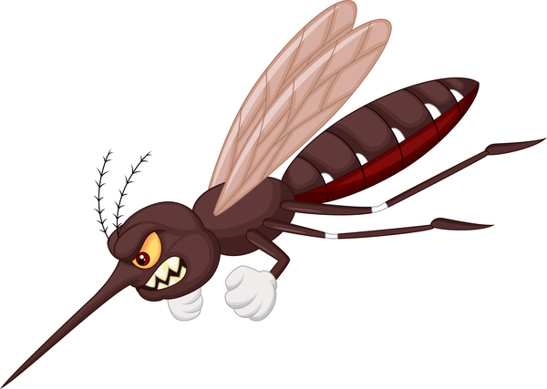 Funny mosquito cartoon vector material 05