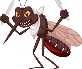 Funny mosquito cartoon vector material 07
