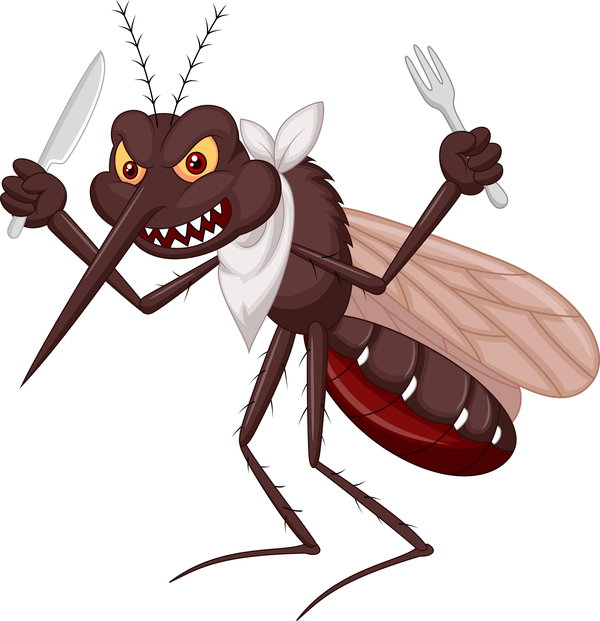 Funny mosquito cartoon vector material free download