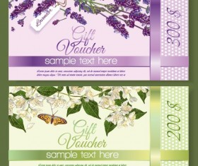 Gift voucher template with flower vector set 01
