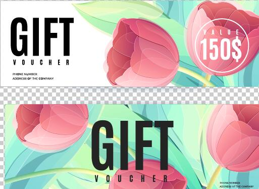 Gift voucher template with flower vector set 02