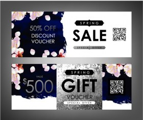 Gift voucher template with flower vector set 03