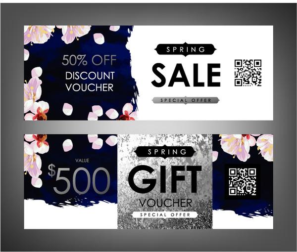 Gift voucher template with flower vector set 03