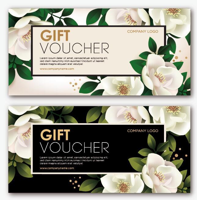 Gift voucher template with flower vector set 04