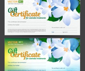 Gift voucher template with flower vector set 05
