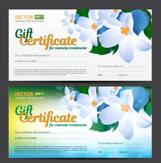 Gift voucher template with flower vector set 05 vector card free gift voucher template with flower vector set 05 yadclub Images