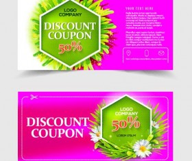 Gift voucher template with flower vector set 06