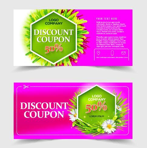Gift voucher template with flower vector set 06