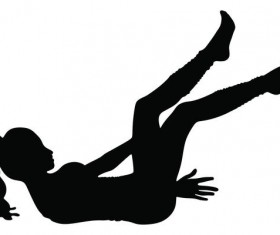 Girl aerobics silhouette vector 03