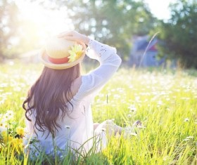Girl sitting in the field HD picture
