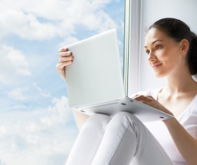 Girl sitting in the window Internet HD picture
