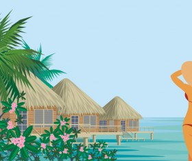 Girl with summer vacation background vector 02