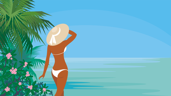 Girl with summer vacation background vector 03