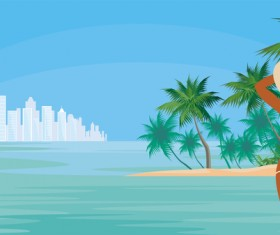 Girl with summer vacation background vector 04