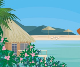 Girl with summer vacation background vector 05