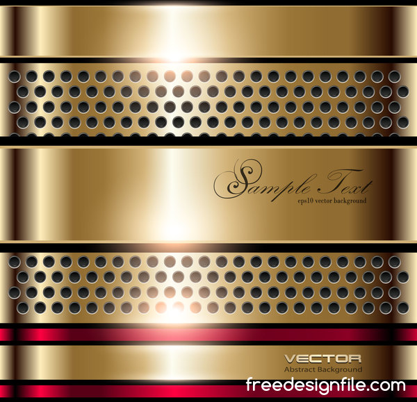 Gold metal abstract design background vector