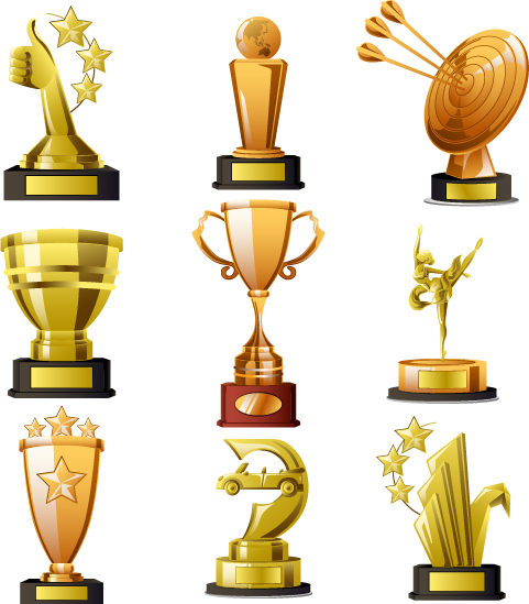 Gold trophy collection vector material 02