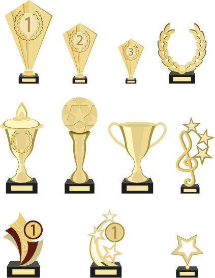 Gold trophy collection vector material 03