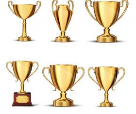 Gold trophy collection vector material 04